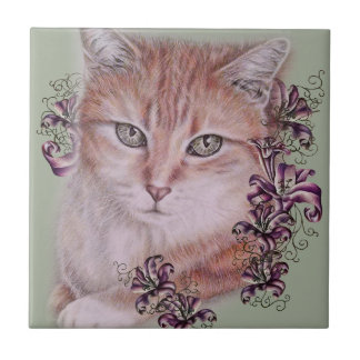 Drawing of Orange Tabby Cat and Lilies Flowers Small Square Tile