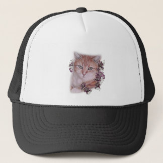 Drawing of Orange Tabby Cat and Lilies Flowers Trucker Hat