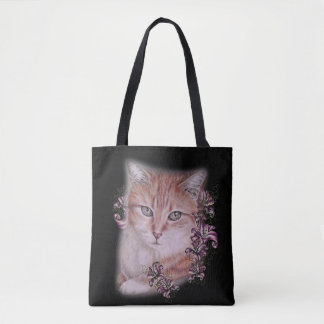 Drawing of Orange Tabby Cat and Lilies on Bag