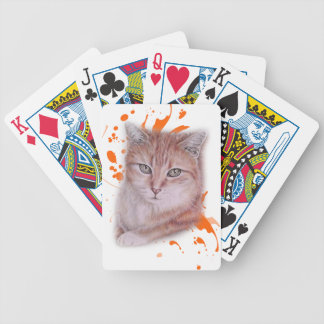 Drawing of Orange Tabby Cat and Paint Bicycle Playing Cards