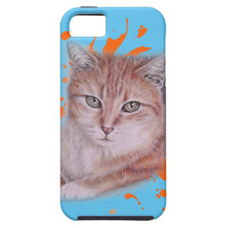 Drawing of Orange Tabby Cat and Paint Case For The iPhone 5