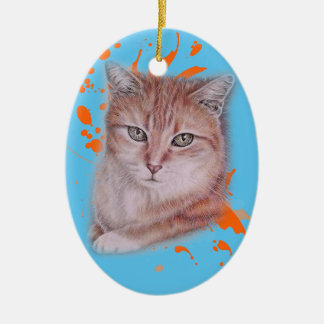 Drawing of Orange Tabby Cat and Paint Ceramic Ornament