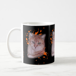 Drawing of Orange Tabby Cat and Paint Coffee Mug