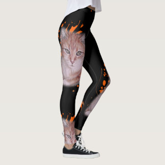 Drawing of Orange Tabby Cat and Paint Leggings