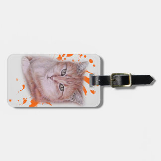 Drawing of Orange Tabby Cat and Paint Luggage Tag