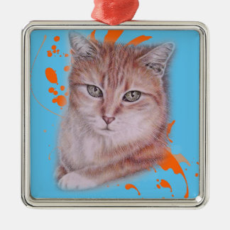 Drawing of Orange Tabby Cat and Paint Metal Ornament