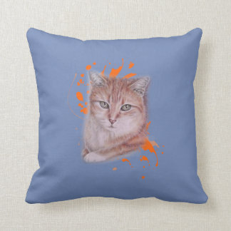 Drawing of Orange Tabby Cat and Paint on Pillow