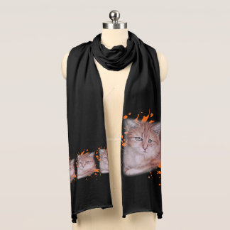 Drawing of Orange Tabby Cat and Paint Scarf
