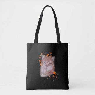 Drawing of Orange Tabby Cat and Paint Tote
