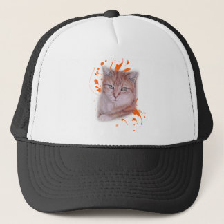 Drawing of Orange Tabby Cat and Paint Trucker Hat