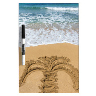 Drawing of palm tree on sandy beach dry erase board
