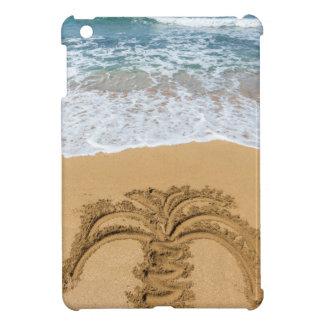 Drawing of palm tree on sandy beach iPad mini cases