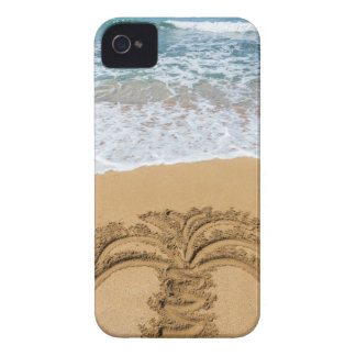 Drawing of palm tree on sandy beach iPhone 4 covers