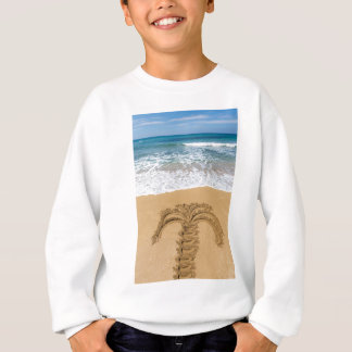 Drawing of palm tree on sandy beach sweatshirt