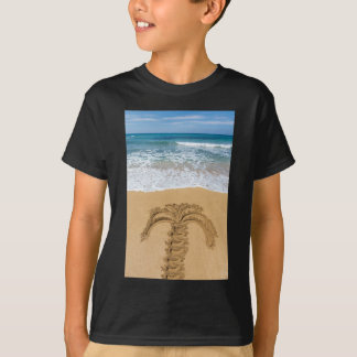 Drawing of palm tree on sandy beach T-Shirt