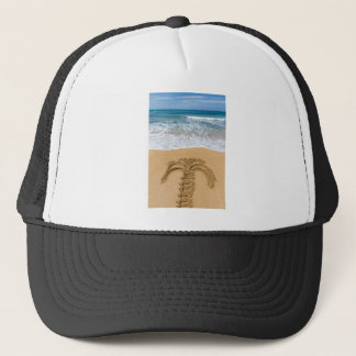Drawing of palm tree on sandy beach trucker hat