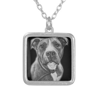 Drawing of Pit Bull Dog Animal Art Silver Plated Necklace