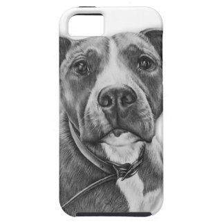 Drawing of Pit Bull Dog Animal Art Tough iPhone 5 Case