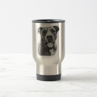 Drawing of Pit Bull Dog Animal Art Travel Mug