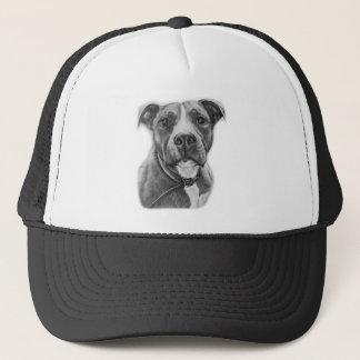 Drawing of Pit Bull Dog Animal Art Trucker Hat