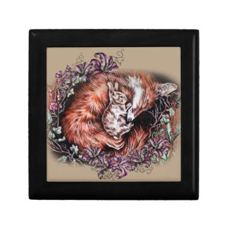 Drawing of Red Fox and Bunny Animal Art and Lilies Gift Box