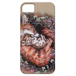 Drawing of Red Fox and Bunny Animal Art and Lilies iPhone 5 Cover
