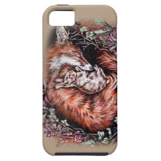 Drawing of Red Fox and Bunny Animal Art and Lilies Tough iPhone 5 Case
