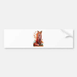 Drawing of Red Fox Animal Art and Orange Paint Bumper Sticker
