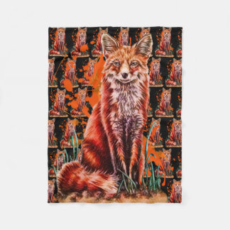 Drawing of Red Fox Animal Art and Orange Paint Fleece Blanket