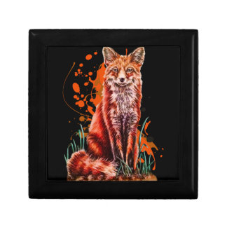 Drawing of Red Fox Animal Art and Orange Paint Gift Box