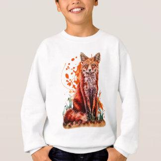 Drawing of Red Fox Animal Art and Orange Paint Sweatshirt