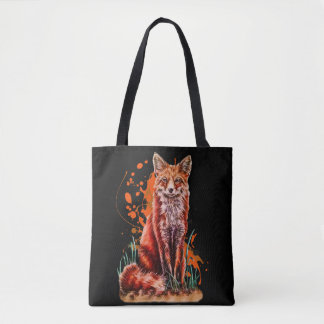 Drawing of Red Fox Animal Art and Orange Paint Tote Bag