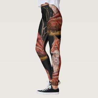 Drawing of Red Fox Animal Art Leggings