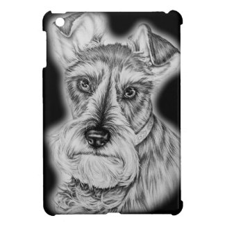 Drawing of Schnauzer Dog Art Cover For The iPad Mini