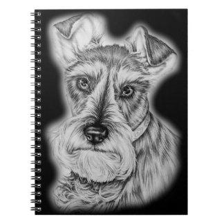 Drawing of Schnauzer Dog Art Notebook