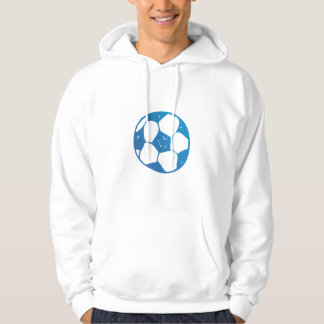 Drawing of Soccer Ball in Blue Hoodie