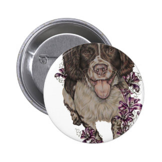 Drawing of Spaniel with Lilies 6 Cm Round Badge