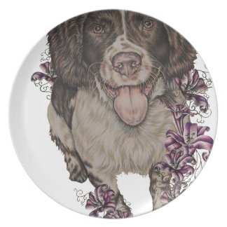 Drawing of Spaniel with Lilies Plate