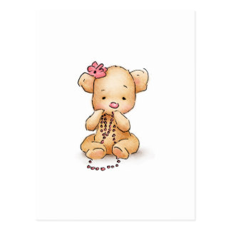 Drawing of Teddy Bear with Pink Beads Postcard