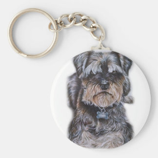 Drawing of Terrier Dog Art Key Ring
