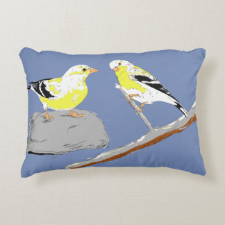 Drawing of Two Finches Pillow
