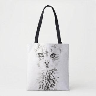 Drawing of White Cat Animal Art on Tote Bag