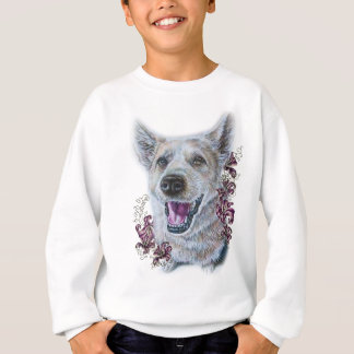 Drawing of White Dog and Lilies Art Sweatshirt