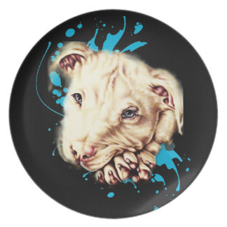 Drawing of White Pit Bull and Blue Paint Art Plate