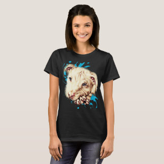 Drawing of White Pit Bull and Blue Paint Art Shirt