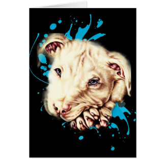 Drawing of White Pit Bull and Blue Paint Card