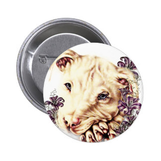 Drawing of White Pitbull with Lilies 6 Cm Round Badge