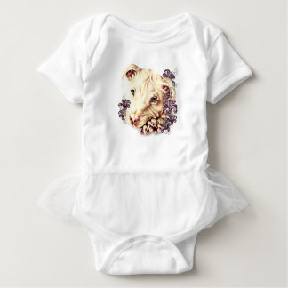 Drawing of White Pitbull with Lilies Baby Bodysuit