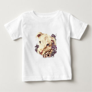 Drawing of White Pitbull with Lilies Baby T-Shirt