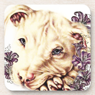 Drawing of White Pitbull with Lilies Coaster